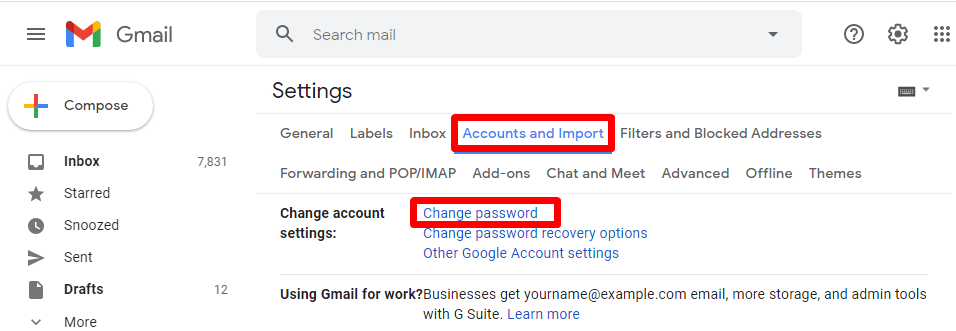change gmail password on android