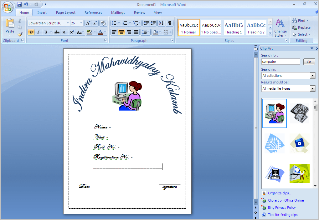 front page design for school project
