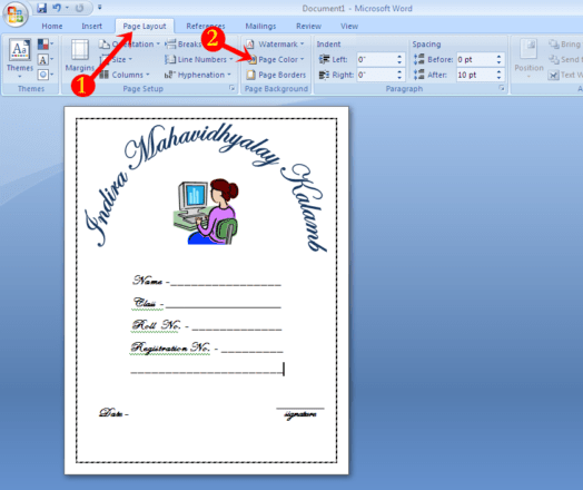 school project front page design sample